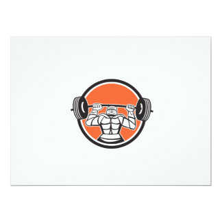 Knight Armor Lifting Barbell Weights Circle Retro 6.5x8.75 Paper Invitation Card