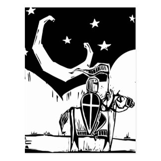 Knight beneath crescent moon postcard