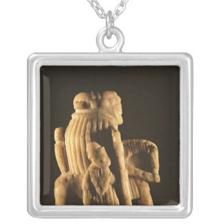 Knight chess piece silver plated necklace