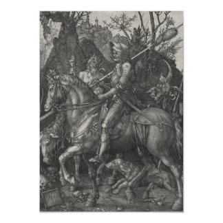 Knight, Death and the Devil by Albrecht Durer 5x7 Paper Invitation Card