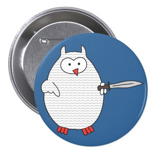 Knight Dispute Hoot Owl 3 Inch Round Button