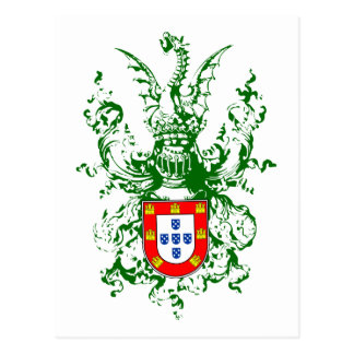 Knight, dragon and Portuguese coat of arms Postcard
