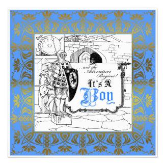knight el castillo su un azul de la invitación del