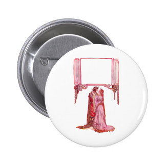Knight Embracing Lady Love Pinback Button