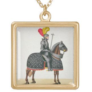 Knight en la armadura en su caballo, placa 'de un  joyería