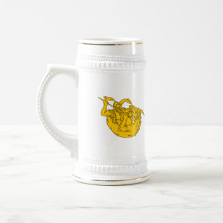 Knight Fighting Dragon Spear Drawing Beer Stein
