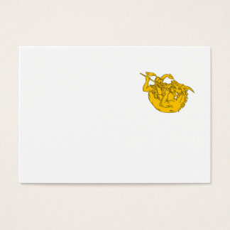 Knight Fighting Dragon Spear Drawing Business Card