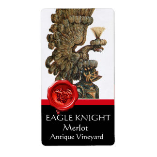 KNIGHT HELMET WITH EAGLE WINGS RED WAX SEAL Wine Shipping Label