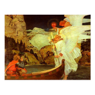 Knight Holy Grail Angels painting Postcard