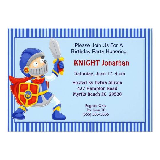 Knight In Armor Birthday Invitation