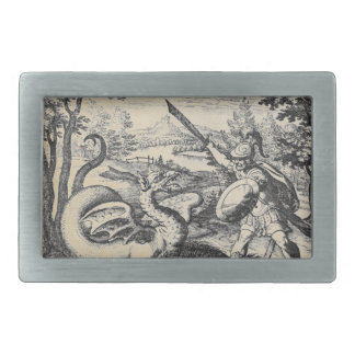Knight in Armor Slaying the Dragon Belt Buckle