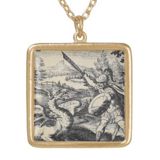 Knight in Armor Slaying the Dragon Gold Plated Necklace