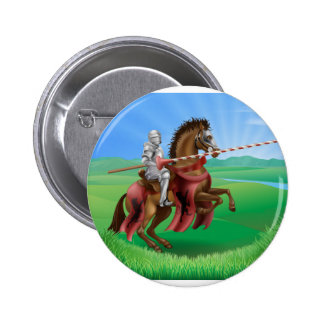 Knight in armor with jousting lance 2 inch round button