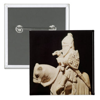 Knight in armour on his horse pinback button