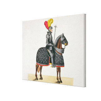 Knight in armour on his horse, plate from 'A Histo Canvas Print