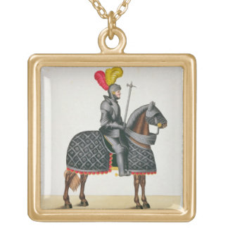 Knight in armour on his horse, plate from 'A Histo Gold Plated Necklace