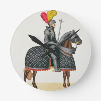 Knight in armour on his horse, plate from 'A Histo Round Clock