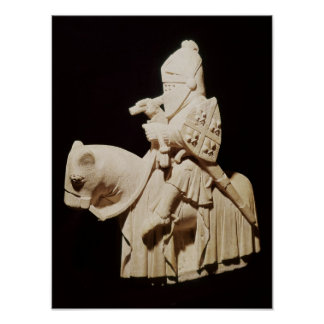 Knight in armour on his horse poster