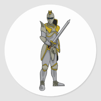 Knight in Armour Round Stickers