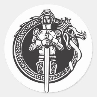 Knight in Dragon Circle Classic Round Sticker