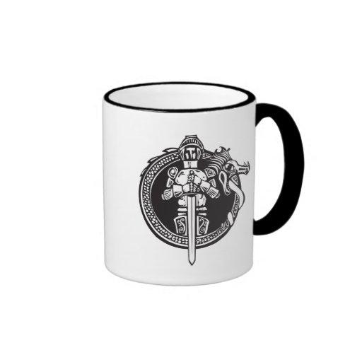 Knight in Dragon Circle Coffee Mugs