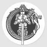 Knight in Dragon Circle Round Stickers
