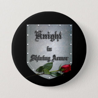 Knight in Shining Armor Red Rose Button
