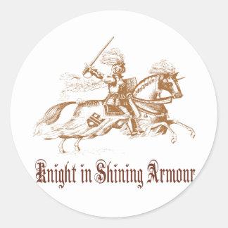 knight in shining armour round sticker