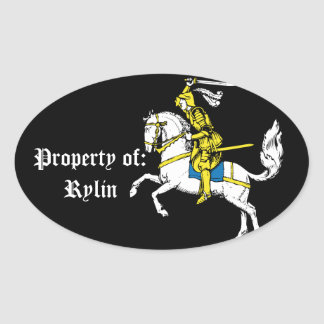 Knight in Yellow Armour Oval Sticker