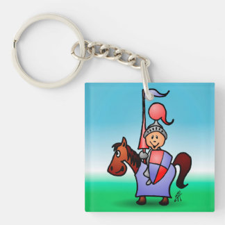 Knight Single-Sided Square Acrylic Keychain