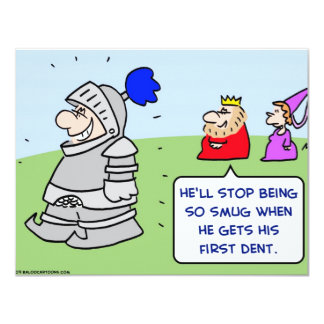 "knight king armor dent first 4.25"" x 5.5"" invitation card"