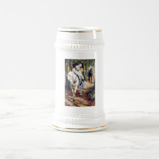 Knight lady white horse medieval romantic beer stein