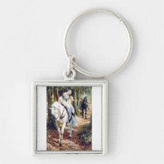 Knight lady white horse medieval romantic keychain