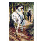 Knight lady white horse medieval romantic postcards