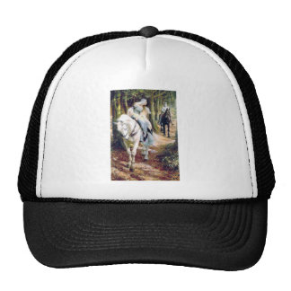 Knight lady white horse medieval romantic trucker hat