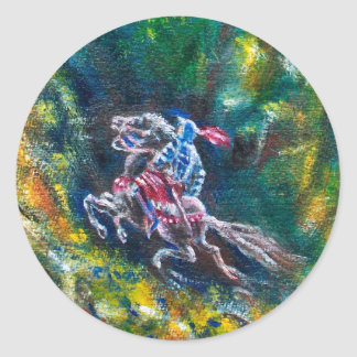 KNIGHT LANCELOT ,HORSE RIDING IN GREEN FOREST CLASSIC ROUND STICKER