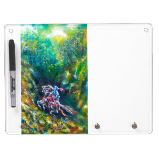 KNIGHT LANCELOT ,HORSE RIDING IN GREEN FOREST DRY ERASE BOARD WITH KEYCHAIN HOLDER