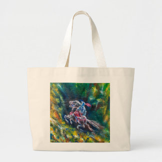 KNIGHT LANCELOT ,HORSE RIDING IN GREEN FOREST LARGE TOTE BAG