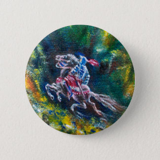 KNIGHT LANCELOT ,HORSE RIDING IN GREEN FOREST PINBACK BUTTON