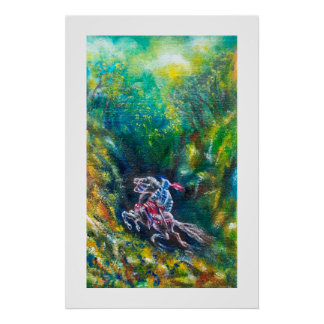 KNIGHT LANCELOT ,HORSE RIDING IN GREEN FOREST POSTER