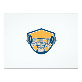 Knight Lifting Barbell Weights Shield Retro 6.5x8.75 Paper Invitation Card