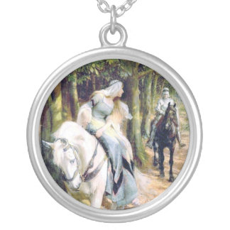 Knight medieval lady white horse romantic round pendant necklace