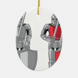 Knight metal red vector ceramic ornament
