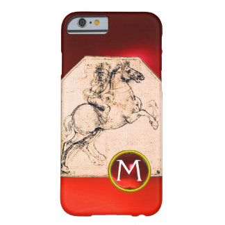Knight on a Rearing Horse Red Ruby Gem Monogram Barely There iPhone 6 Case