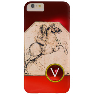 Knight on a Rearing Horse Red Ruby Gem Monogram Barely There iPhone 6 Plus Case
