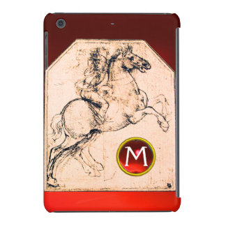 Knight on a Rearing Horse Red Ruby Gem Monogram iPad Mini Retina Case