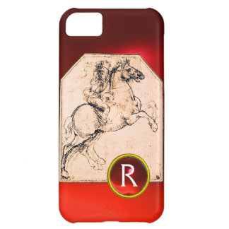 Knight on a Rearing Horse Red Ruby Gem Monogram iPhone 5C Case