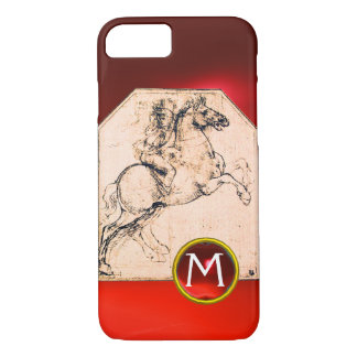 Knight on a Rearing Horse Red Ruby Gem Monogram iPhone 7 Case