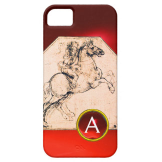 Knight on a Rearing Horse Red Ruby Gem Monogram iPhone SE/5/5s Case