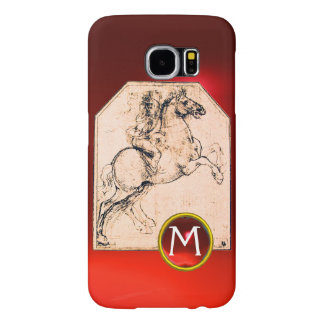 Knight on a Rearing Horse Red Ruby Gem Monogram Samsung Galaxy S6 Case